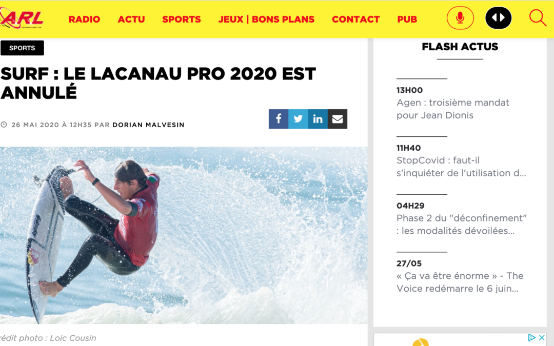 ARL Radio: SURF : Le Lacanau Pro 2020 est annulé